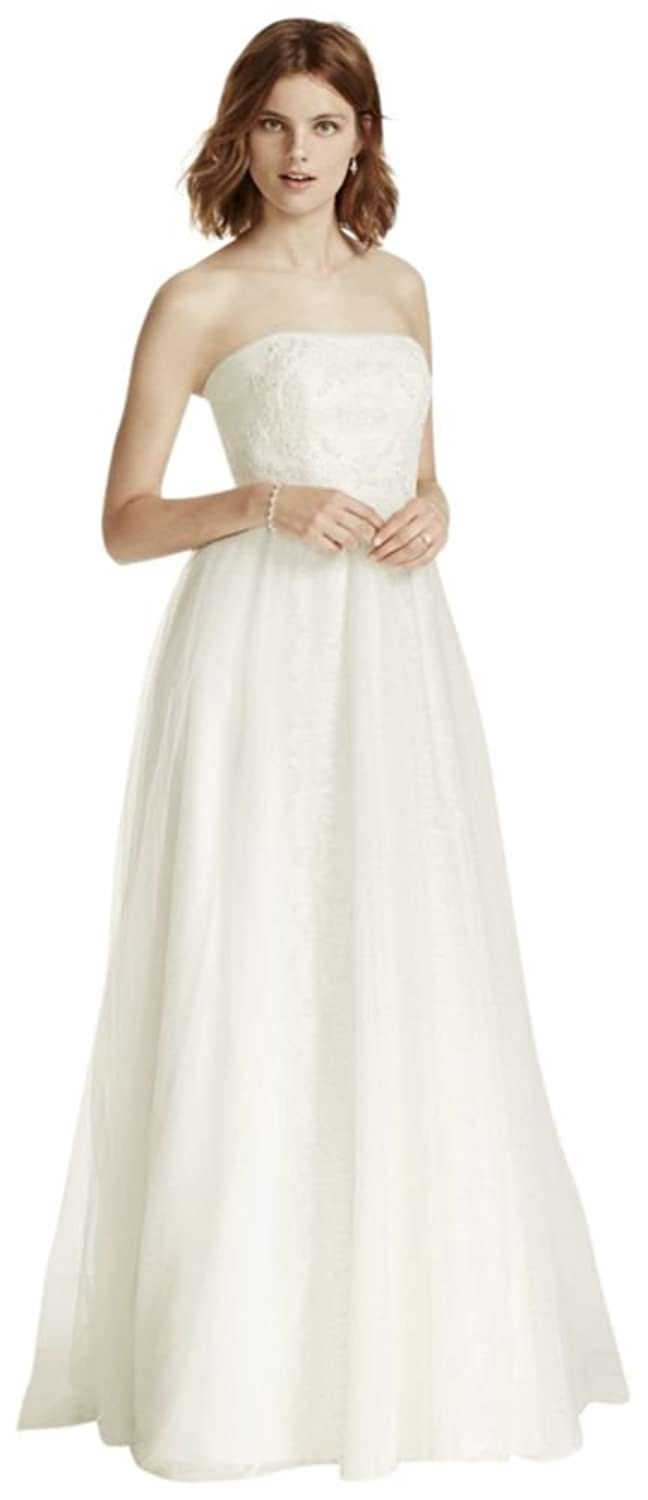 Tulle Strapless Sheath Wedding Dress with Banded Lace Overlay Style ...