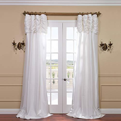 (Half Price Drapes PTCH-120-108-RU Ruched Faux Silk Taffeta Curtain,)
