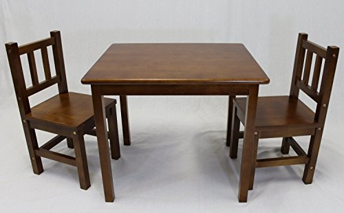 eHemco Kids Table and 2 Chairs Set Solid Hard Wood (Dark Oak)
