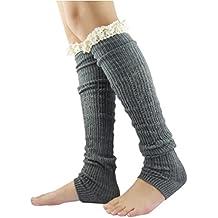 NOVAWO Women's Christmas High Knit Crochet Lace Leg Warmers, Exquisite Gift Pouch