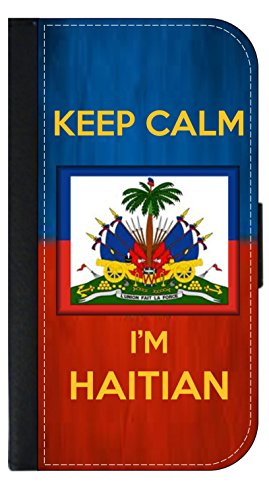 Keep Calm I'm Haitian - Wallet Style Flip Phone Case Compatible with s3/s4/s5/s6/s6edge/s7/s7edge/s8/s8Plus - Select Your Compatible Phone Model -