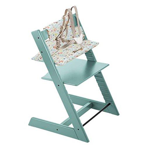 Stokke Tripp Trapp Chair with Retro Cars Cushion Bundle (Aqua Blue)