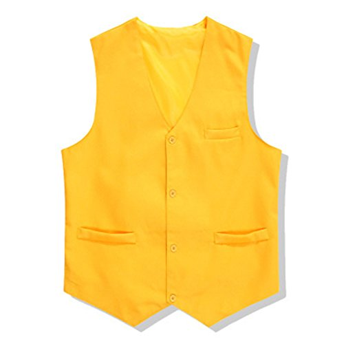 TopTie Waiter Bartender Uniform Unisex Button Vest For Supermarket Clerk & Volunteer YELLOW-L