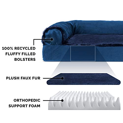 Furhaven Pet Dog Bed - Deluxe Orthopedic Plush Faux Fur and Velvet L Shaped Chaise Lounge Living Room Corner Couch Pet Bed with Removable Cover for Dogs and Cats, Deep Sapphire, Jumbo