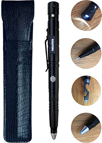 Multi-Function Tactical Pen with PU Leather Pouch, Flashlight, Bottle Opener, 6mm Hex-Wrench, Screwdriver, Ballpoint Writing Pen, Glass Breaker, Scraper, 3 Pen Refills, 3 Battery Sets, and Gift ()