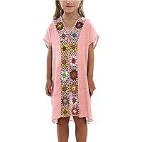 KIDVOVOU Kids Girls Swimsuit Beach Cover-up Crochet V-Neck Swim Dress