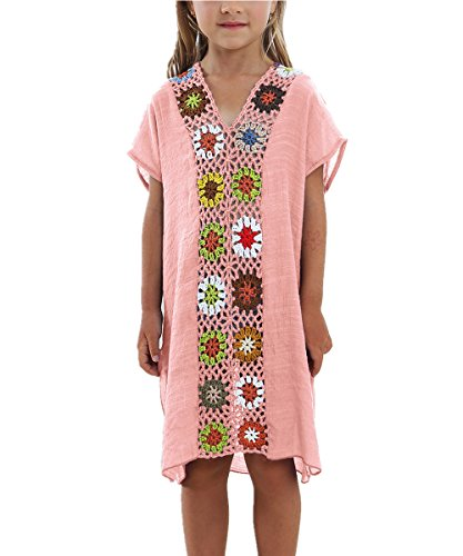 KIDVOVOU Kids Girls Swimsuit Beach Cover-up Crochet V-Neck Swim Dress,Pink,100 by KIDVOVOU