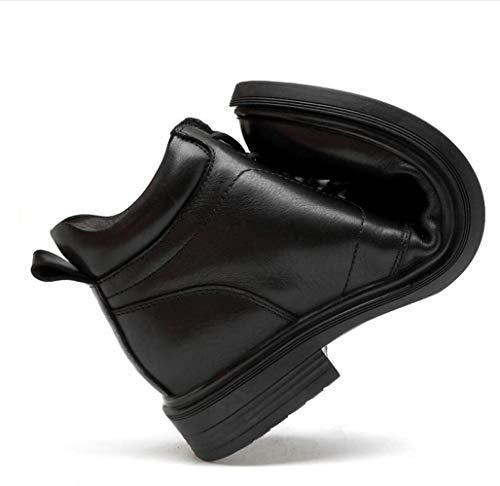 Stivali di Uomo da Pelle Grandi di Aiuto Stivali Dimensioni di Alta Stivali Scarpe Black vzTqwd5v