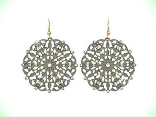 (Earrings For Women MEDALLION Moss Green Clear Crystal Lacy Medallion Earrings For Women)