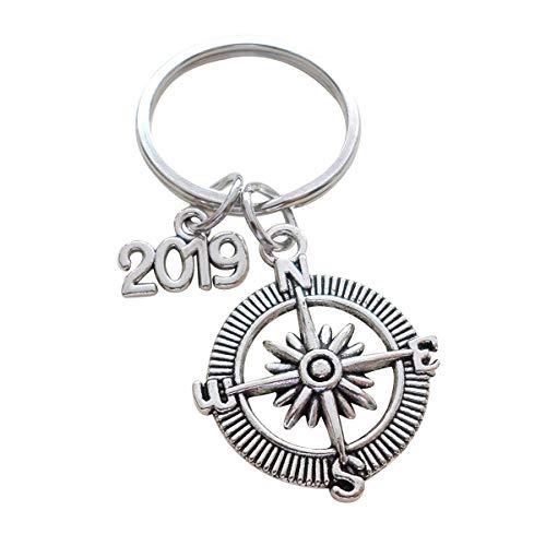 "Amosfun Graduation Gift Keychain Good Luck on The Path Ahead of You Open Metal Compass Keychain with 2019"" Charm Birthday Gift"