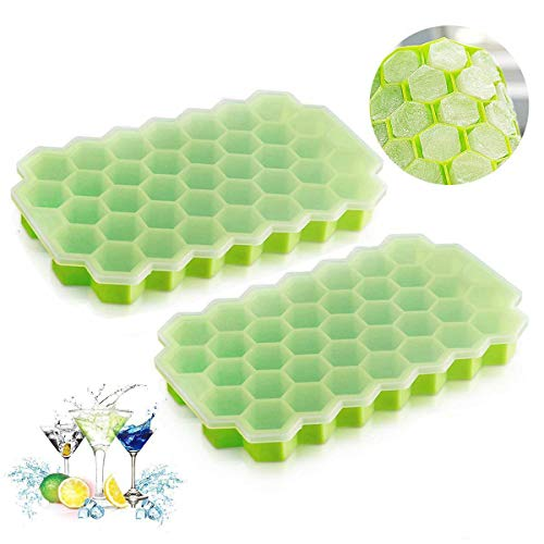 Ice Cube Trays with Lids, Qinbin 2Pack (74 Ice Cubes) Silicone Ice Cube Molds for Whiskey Storage, Cocktail, -