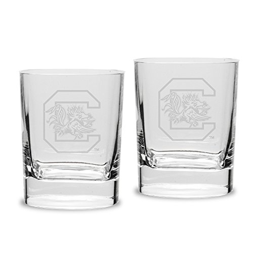 NCAA South Carolina Fighting Gamecocks Adult Set of 2 - 14 oz Square Double Old Fashion Glasses Deep Etched Engraved, One Size, - Double Carolina Old Fashioned