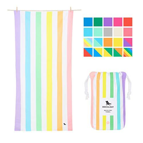 (Dock & Bay Pastel Rainbow Striped Beach Towel - Unicorn Waves, Large (160x80cm, 63x31) - Quick Dry Towel, Compact & Lightweight, Rainbow Flags)