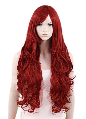 Jean Grey Costumes Halloween - Jean Grey Wig Wine Red Long