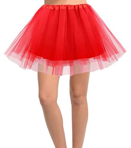 Jasmine Women's 4-Layer Satin-Lined Tulle Costume, Dance, Running Tutu,Red -