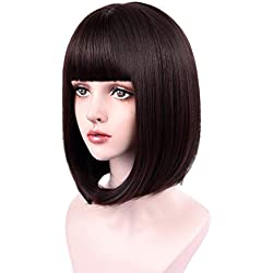 "REECHO 14"" Medium Short Bob Wig with bangs Synthetic Hair for White Black Women Cosplay Color: Dark Brown"