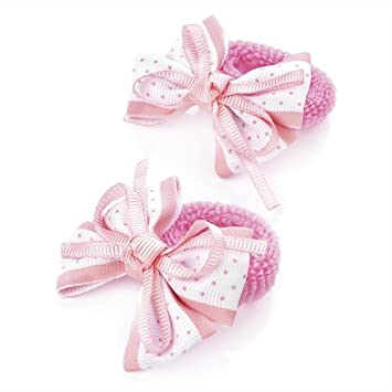 Amazon.com   2 x Girls Pink   White Bow Motif Hair Elastics  Bobbles ... 25d0d33f64f