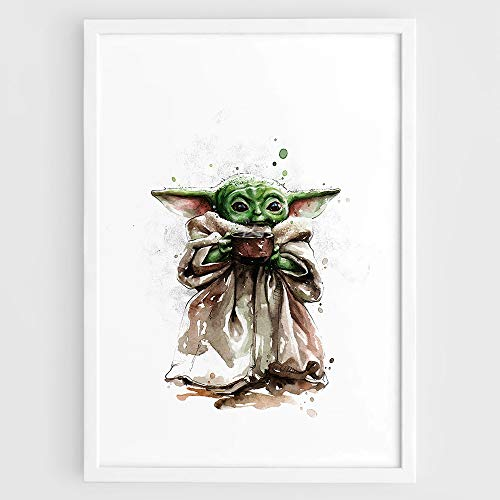 Baby Yoda Star Wars The Mandalorian TV Series Little Yoda Art print christmas gifts - Wall Art Film Print Poster Watercolor Painting Ver 2