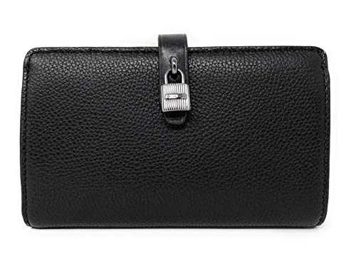 Michael Kors Adele Slim Bifold Leather Wallet with Lock Detail (Black)