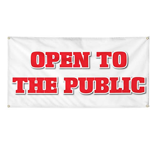 Vinyl Banner Sign Open to The Public Business Style S Marketing Advertising White - 24inx60in (Multiple Sizes Available), 4 Grommets, One Banner - Open Soon Banner
