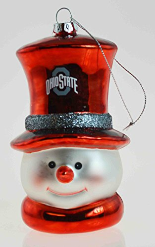- Ohio State Buckeyes Snowman Glass Christmas Ornament