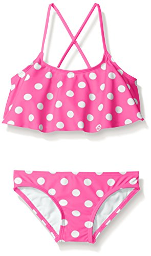 - Kanu Surf Girls' Big Suzie Polka Dot Flounce Bikini Swimsuit, Pink, 12