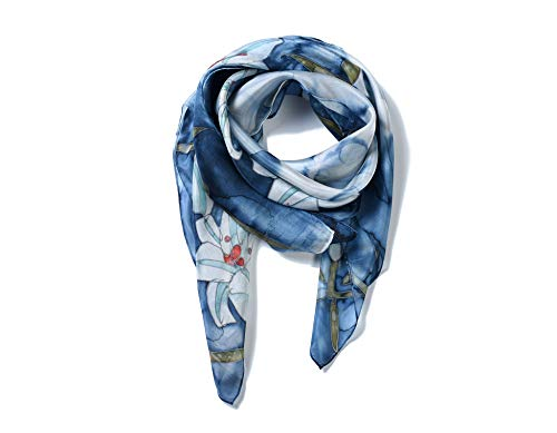 (Invisible World Women's 100% Silk Hand Painted Square Scarf Blue)