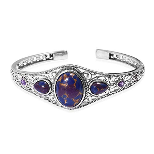 Cuff Bangle Bracelet 925 Sterling Silver Purple Turquoise Amethyst Boho Handmade Jewelry for Women Size 8