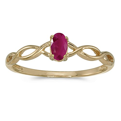 Jewels By Lux 10k Yellow Gold Genuine Red Birthstone Solitaire Oval Ruby Wedding Engagement Ring - Size 9 (0.18 Cttw.)