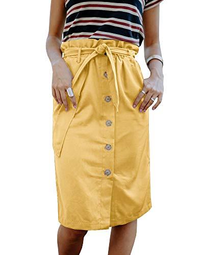 Liyuandian Womens Button Skirt Belted High Waisted Paper Bag Waist Skirts with Pockets
