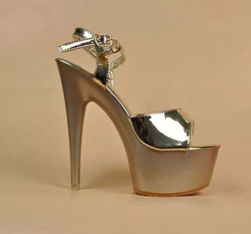 Xing Lin Ladies High Heel Sandals The Ultra-Thin High Heels With With 15Cm Waterproof Platform Sandals Ultra-Steady Night High-Heel Shoes Black Work Shoes, Gold 15cm