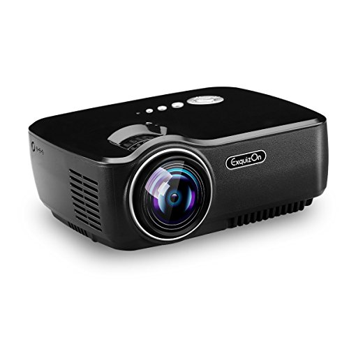 Exquizon TFT-LCD Portable Projector Video Home Projector with HDMI Input Support 1080P for Cinema Theater TV Laptop Game SD iPad iPhone Android Smartphone-GP70, Black