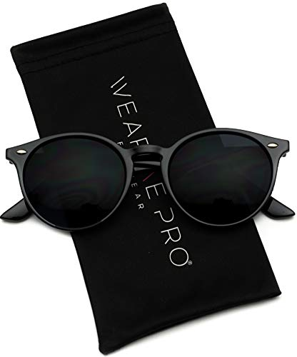 WearMe Pro Classic Small Round Retro Sunglasses, Black Frame/Black Lens