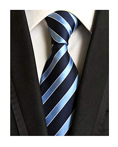 Blue Navy Stripe Holiday Neckties Silk Tie Suit Fitness Dating For Men Youth Boy
