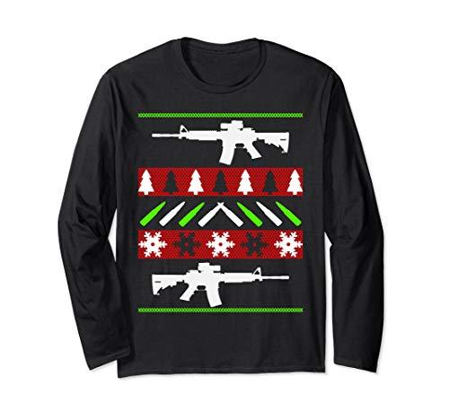 AR-15 Rifle Ugly Christmas Sweater - Funny Gun Long Sleeve