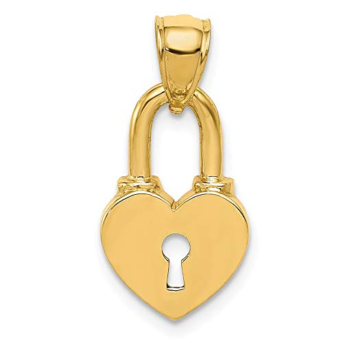 14k Yellow Gold Heart Lock Pendant Charm Necklace Love With Fine Jewelry Gifts For Women For Her ()