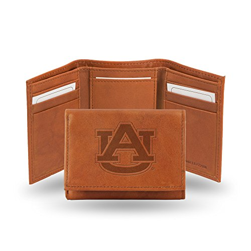 Auburn Tigers Embossed Leather Trifold Wallet, Tan ()