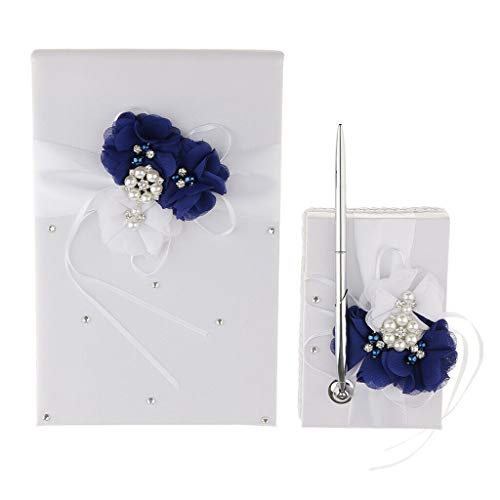 (BROSCO Wedding Ring Bearer Flower Girl Basket Guest Pen Book Set Party Decor | Color - Guest Book Pen)