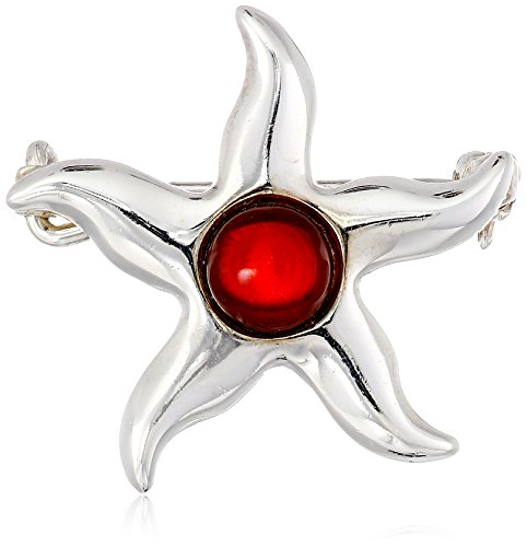 Sterling Silver Cherry Amber Small Sea Star Pin