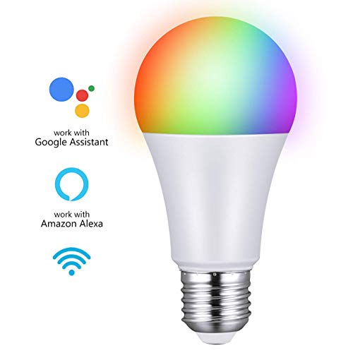 Smart Led Lights, 7W WiFi Smart Bulbs 60W Equivalent and RGBW Color Changing Bulb, Control by Phones/Voice Control Compatible with Alexa, Echo, Google Home - Phone Control
