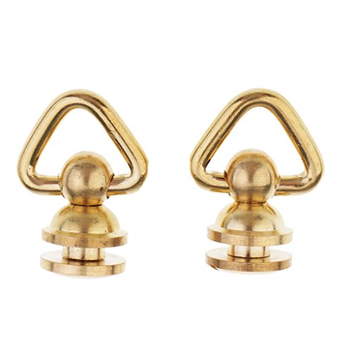 Baoblaze 2 Pieces Vintage Copper Studs Screw Rivet Round Head Triangle Ring DIY Leather Crafts - Brass