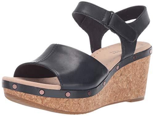 CLARKS Women's Annadel Clover Wedge Sandal, Navy Leather, 050 M US