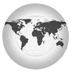 alfombrilla de ratón Mapa del mundo negro del vector - ronda - 20cm