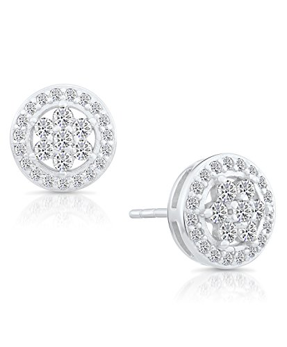 Sterling Silver Circle Flower Halo Stud Earrings with Cubic (Circular Cubic Zirconia Earrings)