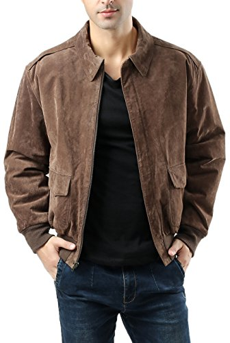 Landing Leathers Men's Air Force A-2 Suede Leather Flight Bomber Jacket, Brown, Medium