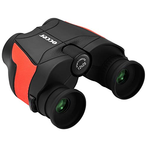 occer 12x25 High Powered Binoculars,Compact Folding Binocular Bak4 Prism FMC Optics,Lightweight Binoculars with Low Light Night Vision for Birding,Hunting,Sightseeing,Hiking,Wildlife,Travelling(Red)