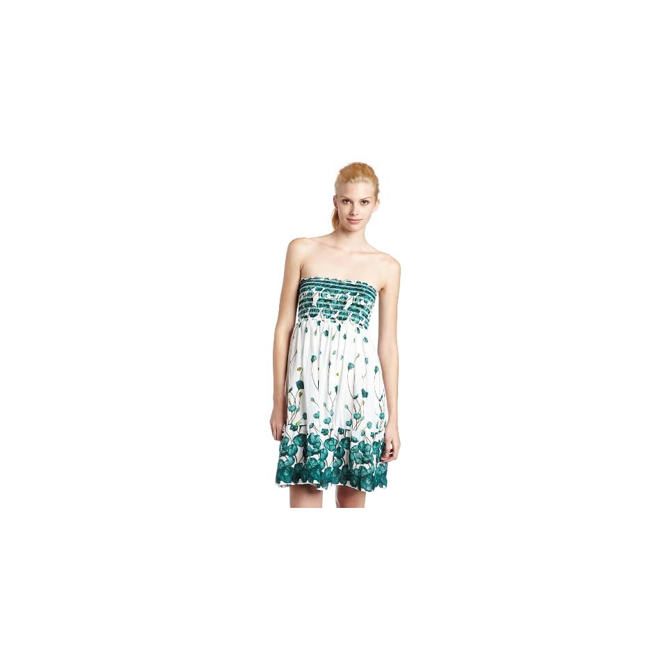 Raviya Womens Floral Print Tube Dress, Green, Medium