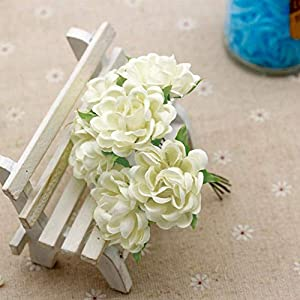 MARJON Flowers6Pcs Artificial Silk Fake Flowers Floral Wedding Bouquet Party Home Decoration Milk White 59
