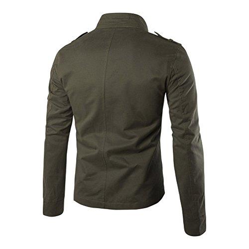 para ajustado cuello de hombre botones y larga Verde con casual entallado manga ligera con estilo algodón Chaqueta cremallera daBx5d