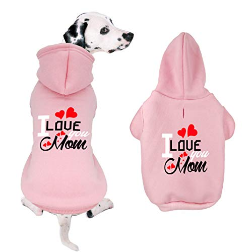 WONDERPUP I Love You Mom Dog Hoodies for Small, Medium cat Fleece Sweater Shirt Pink - Personalized Pet Sweatshirt